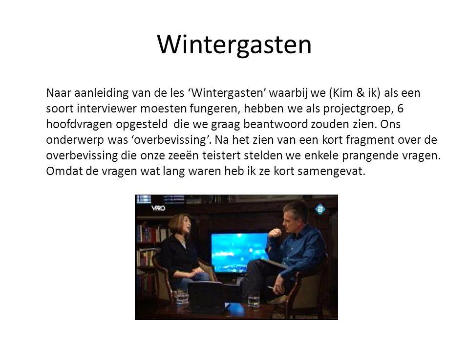 Wintergasten Naar aanleiding van de les 'Wintergasten' waarbij we (Kim & ik) als een soort interviewer moesten fungeren, hebben we als projectgroep, 6