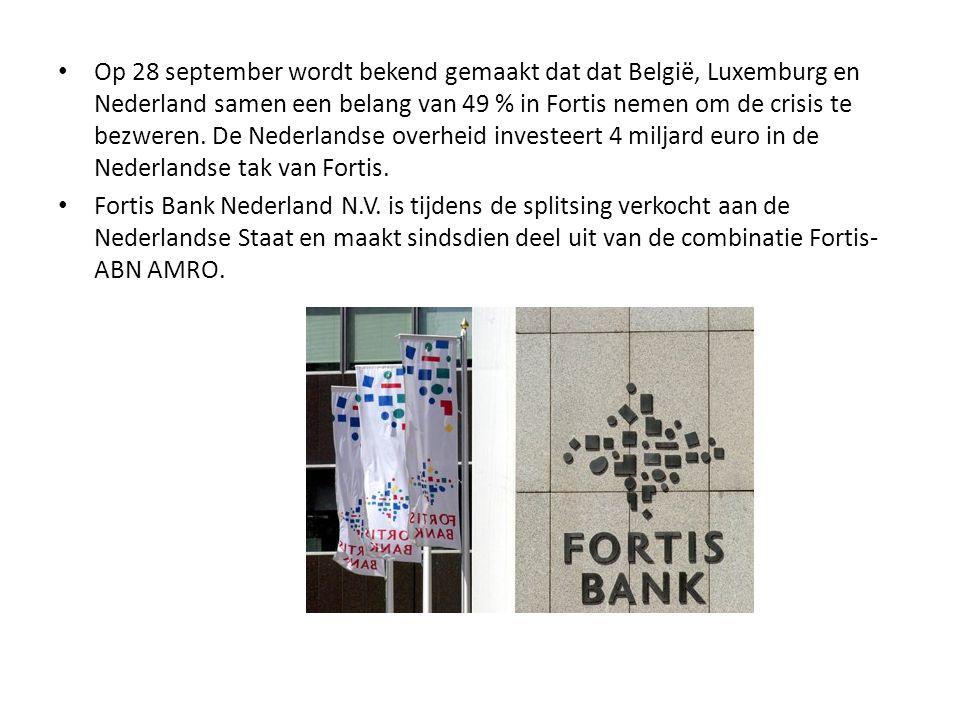 • Op 28 september wordt bekend gemaakt dat dat België, Luxemburg en Nederland samen een belang van 49 % in Fortis nemen om de crisis te bezweren. De N