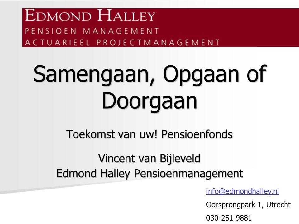 Samengaan, Opgaan of Doorgaan Toekomst van uw! Pensioenfonds Vincent van Bijleveld Edmond Halley Pensioenmanagement info@edmondhalley.nl Oorsprongpark