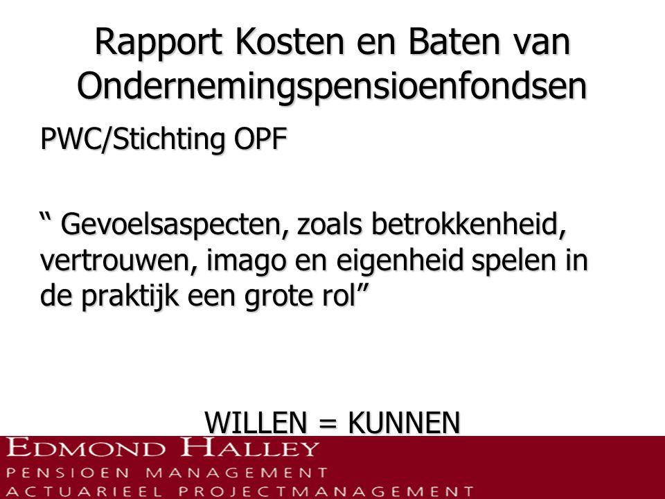 Rapport Kosten en Baten van Ondernemingspensioenfondsen PWC/Stichting OPF Gevoelsaspecten, zoals betrokkenheid, vertrouwen, imago en eigenheid spelen in de praktijk een grote rol WILLEN = KUNNEN