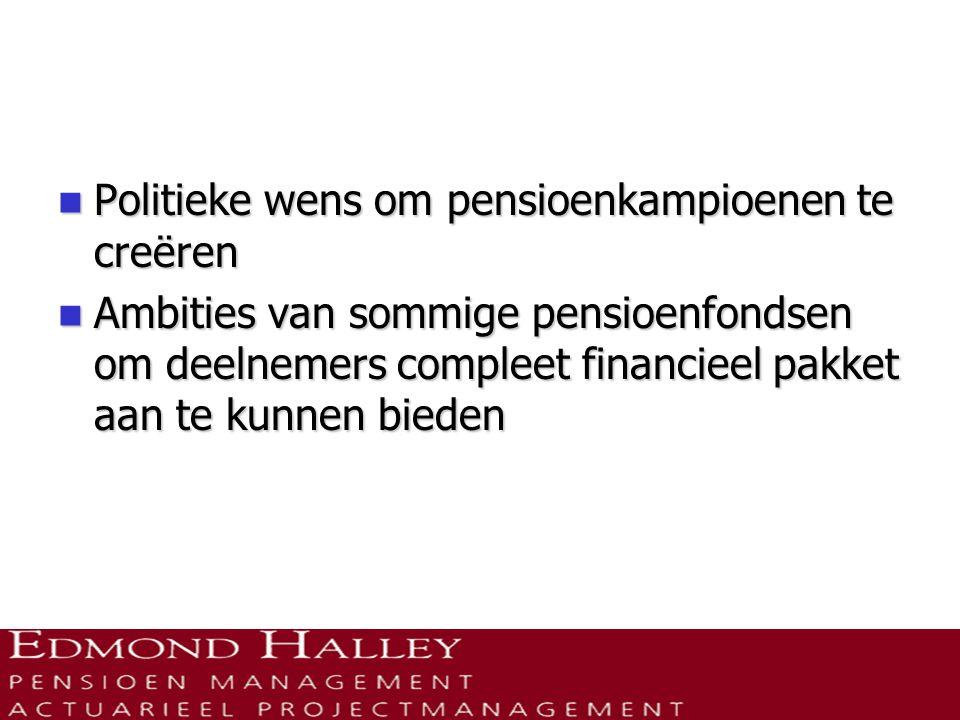  Aantal ondernemingspensioenfondsen:  2005: 710  2008: 553  Aantal Bedrijfstakpensioenfondsen redelijk stabiel.