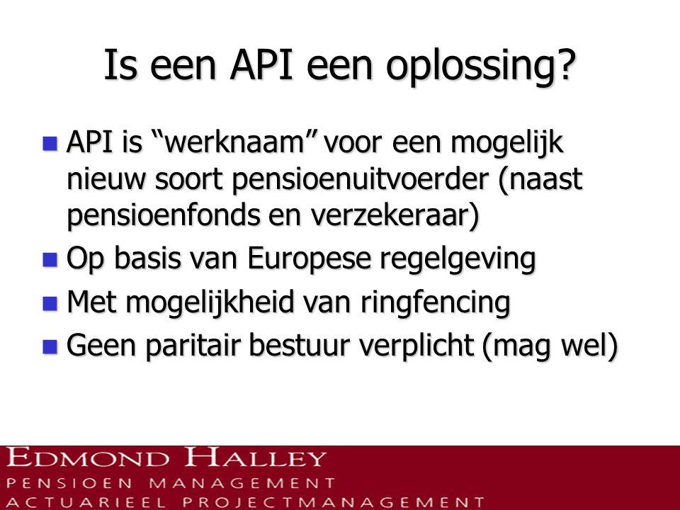 """Is een API een oplossing?  API is """"werknaam"""" voor een mogelijk nieuw soort pensioenuitvoerder (naast pensioenfonds en verzekeraar)  Op basis van Eur"""