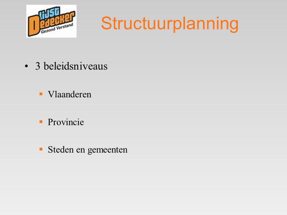 Structuurplanning •3 beleidsniveaus  Vlaanderen  Provincie  Steden en gemeenten