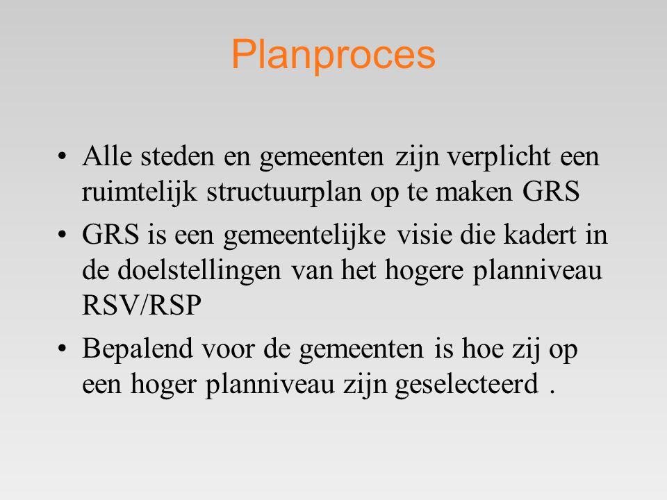 Planproces •Alle steden en gemeenten zijn verplicht een ruimtelijk structuurplan op te maken GRS •GRS is een gemeentelijke visie die kadert in de doelstellingen van het hogere planniveau RSV/RSP •Bepalend voor de gemeenten is hoe zij op een hoger planniveau zijn geselecteerd.