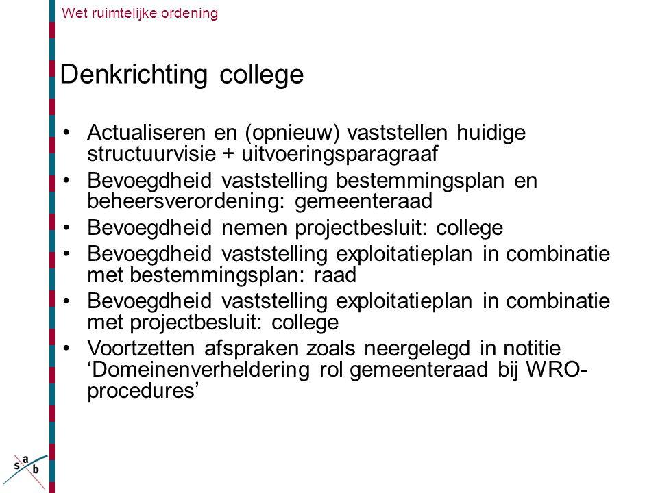Wet ruimtelijke ordening Denkrichting college •Actualiseren en (opnieuw) vaststellen huidige structuurvisie + uitvoeringsparagraaf •Bevoegdheid vastst
