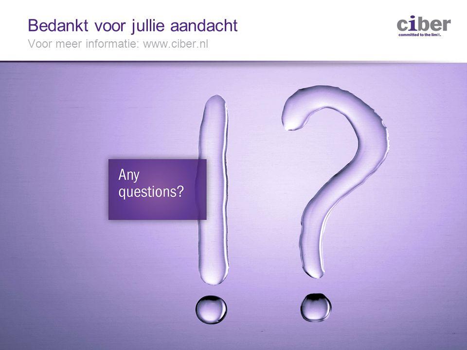 13 Bedankt voor jullie aandacht Voor meer informatie: www.ciber.nl