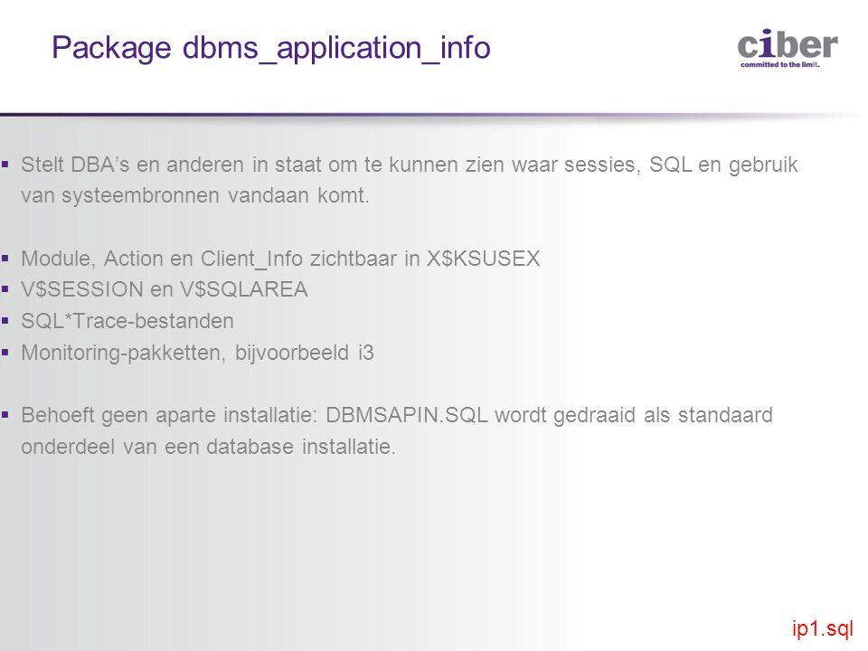 Package dbms_application_info  Stelt DBA's en anderen in staat om te kunnen zien waar sessies, SQL en gebruik van systeembronnen vandaan komt.
