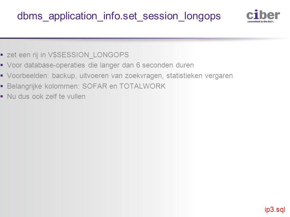 dbms_application_info.set_session_longops  zet een rij in V$SESSION_LONGOPS  Voor database-operaties die langer dan 6 seconden duren  Voorbeelden: backup, uitvoeren van zoekvragen, statistieken vergaren  Belangrijke kolommen: SOFAR en TOTALWORK  Nu dus ook zelf te vullen ip3.sql