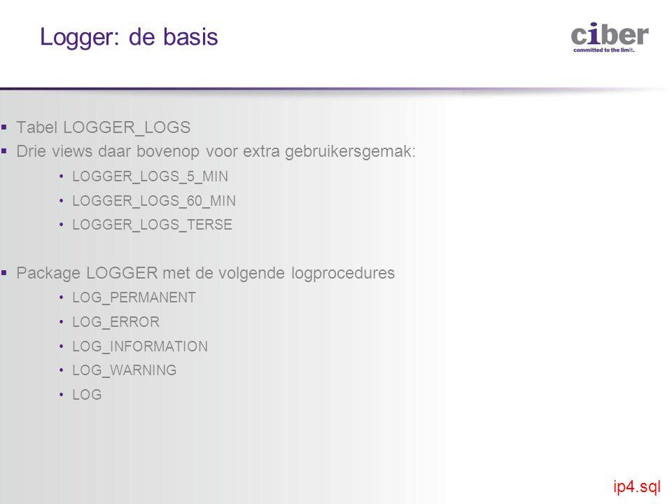Logger: de basis  Tabel LOGGER_LOGS  Drie views daar bovenop voor extra gebruikersgemak: •LOGGER_LOGS_5_MIN •LOGGER_LOGS_60_MIN •LOGGER_LOGS_TERSE  Package LOGGER met de volgende logprocedures •LOG_PERMANENT •LOG_ERROR •LOG_INFORMATION •LOG_WARNING •LOG ip4.sql