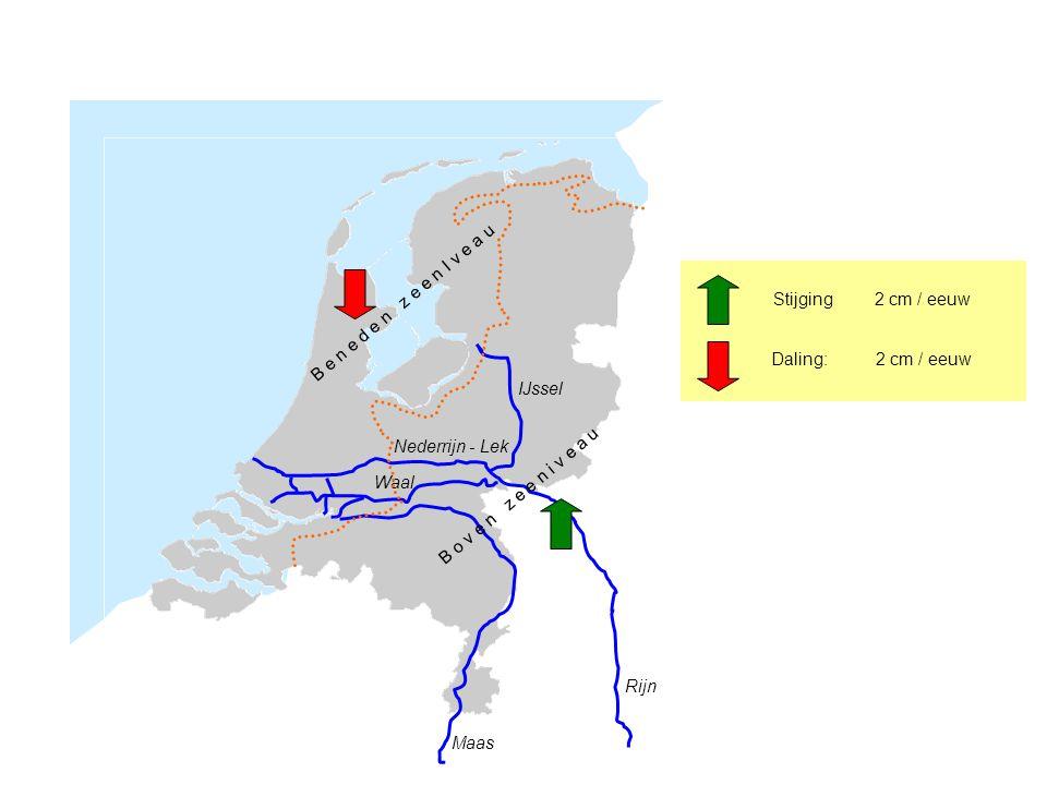 Rijn Maas Nederrijn - Lek IJssel Waal B e n e d e n z e e n I v e a u B o v e n z e e n i v e a u Daling: 2 cm / eeuw Stijging 2 cm / eeuw