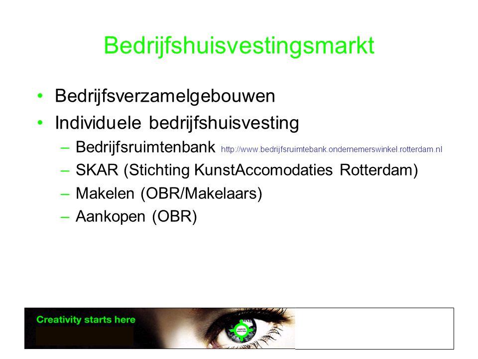 Bedrijfshuisvestingsmarkt •Bedrijfsverzamelgebouwen •Individuele bedrijfshuisvesting –Bedrijfsruimtenbank http://www.bedrijfsruimtebank.ondernemerswinkel.rotterdam.nl –SKAR (Stichting KunstAccomodaties Rotterdam) –Makelen (OBR/Makelaars) –Aankopen (OBR)