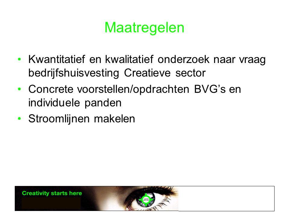 Maatregelen •Kwantitatief en kwalitatief onderzoek naar vraag bedrijfshuisvesting Creatieve sector •Concrete voorstellen/opdrachten BVG's en individuele panden •Stroomlijnen makelen