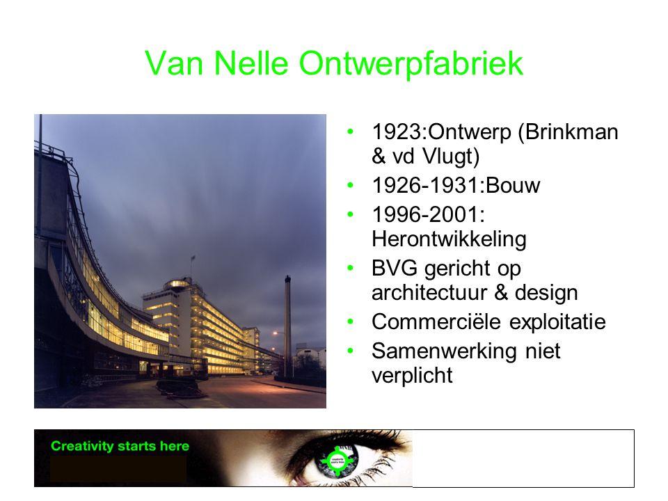 Van Nelle Ontwerpfabriek •1923:Ontwerp (Brinkman & vd Vlugt) •1926-1931:Bouw •1996-2001: Herontwikkeling •BVG gericht op architectuur & design •Commerciële exploitatie •Samenwerking niet verplicht