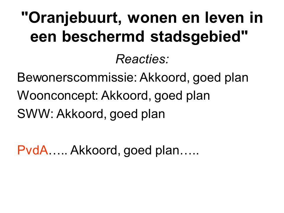 Oranjebuurt, wonen en leven in een beschermd stadsgebied Reacties: Bewonerscommissie: Akkoord, goed plan Woonconcept: Akkoord, goed plan SWW: Akkoord, goed plan PvdA…..