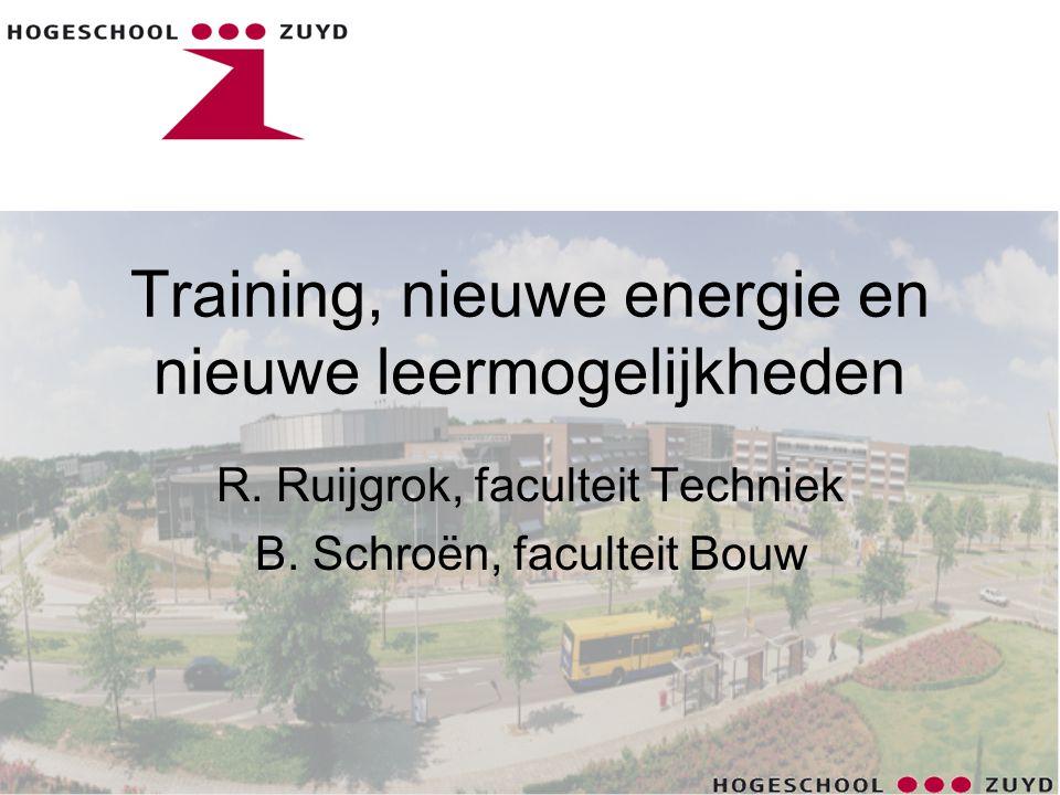 Inhoud •Projecten studenten •Lectoraat Nieuwe Energie •Energy Academy •E-Woningen: leren en bouwen