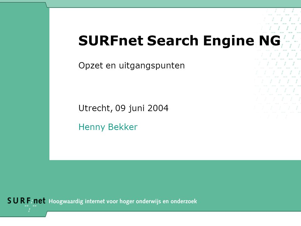 12 van 13 Referenties •AltaVistahttp://www.altavista.com/http://www.altavista.com/ •Fasthttp://www.fast.nohttp://www.fast.no •Search-NG http://search.surfnet.nl/ http://search.surfnet.nl/ •PageRank –http://dbpubs.stanford.edu:8090/pub/1999-66http://dbpubs.stanford.edu:8090/pub/1999-66 •SearchEngineWatch –http://www.SearchEngineWatch.com/http://www.SearchEngineWatch.com/ •W3C 2004 papers [URL's to be announced] –Wat's new on the Web –Understanding User Goals in Web Search –Ranking the Web Frontier –Sic Transit Gloria Telae: Towards an Understanding of the Web s Decay