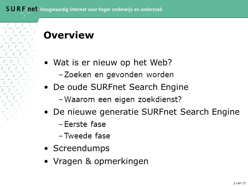 2 van 13 Overview •Wat is er nieuw op het Web.