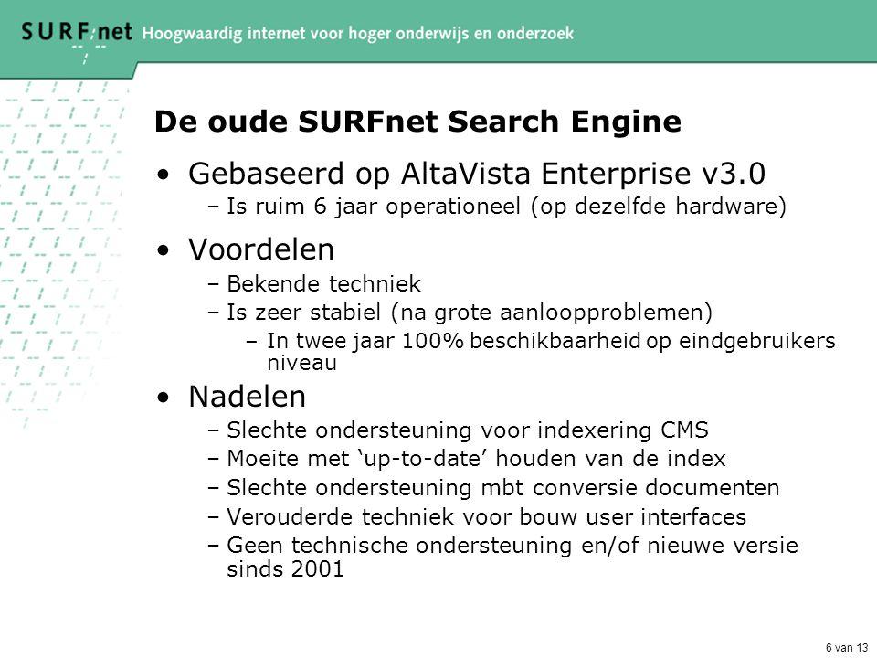 6 van 13 De oude SURFnet Search Engine •Gebaseerd op AltaVista Enterprise v3.0 –Is ruim 6 jaar operationeel (op dezelfde hardware) •Voordelen –Bekende techniek –Is zeer stabiel (na grote aanloopproblemen) –In twee jaar 100% beschikbaarheid op eindgebruikers niveau •Nadelen –Slechte ondersteuning voor indexering CMS –Moeite met 'up-to-date' houden van de index –Slechte ondersteuning mbt conversie documenten –Verouderde techniek voor bouw user interfaces –Geen technische ondersteuning en/of nieuwe versie sinds 2001