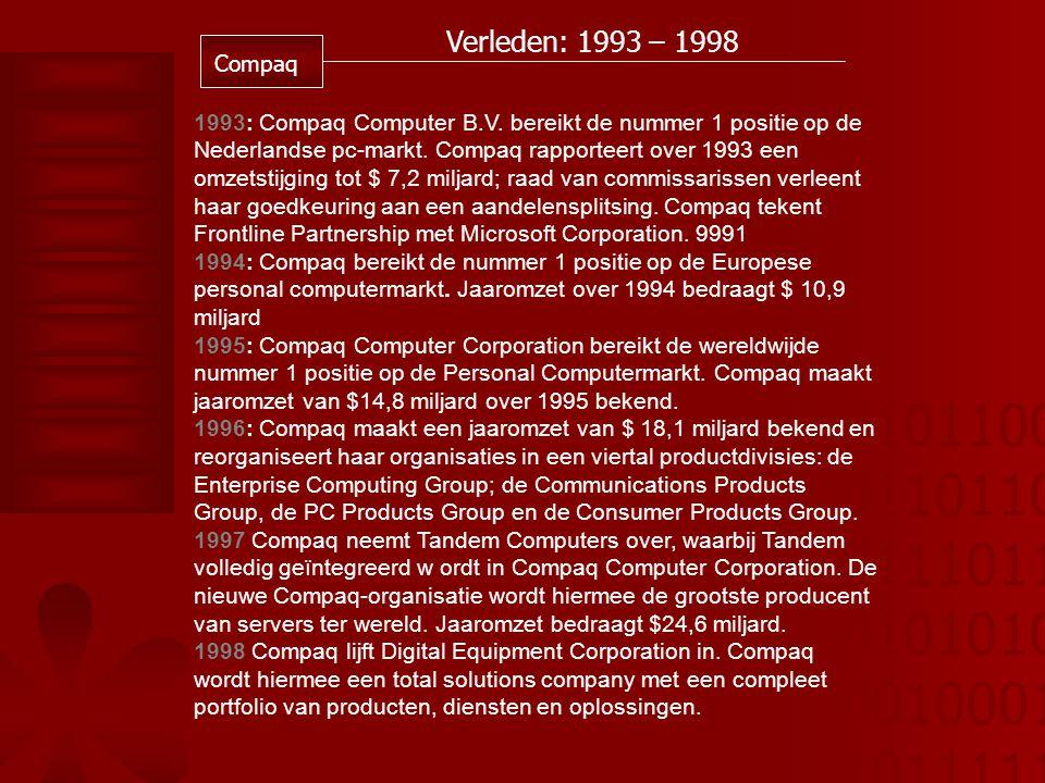 01011001 01101101 01110110 01010101 00100010 10111110 Verleden: 1993 – 1998 Compaq 1993: Compaq Computer B.V.