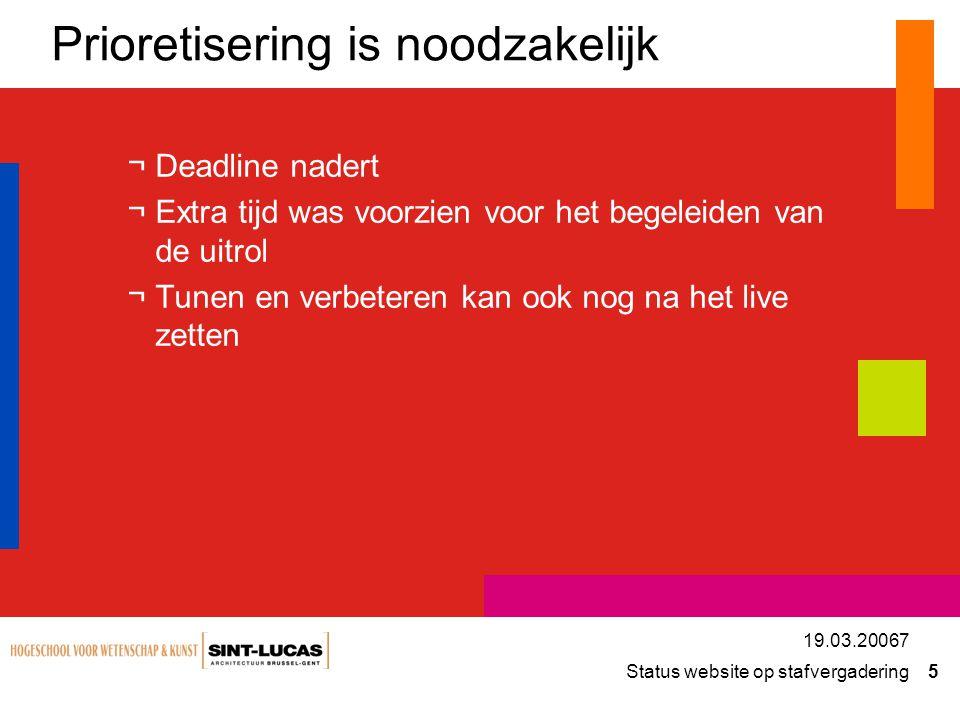 Status website op stafvergadering 5 19.03.20067 Prioretisering is noodzakelijk ¬Deadline nadert ¬Extra tijd was voorzien voor het begeleiden van de ui