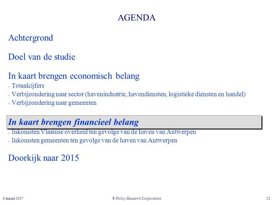 © Policy Research Corporation 216 maart 2007 AGENDA Achtergrond Doel van de studie In kaart brengen economisch belang - Totaalcijfers - Verbijzonderin