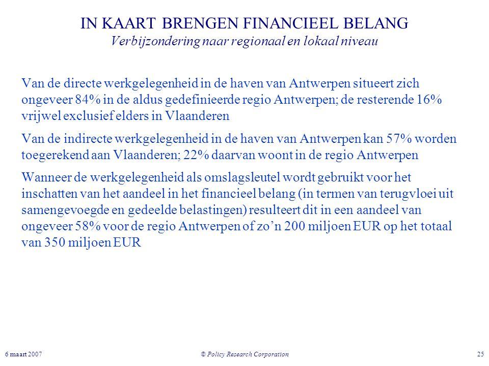 © Policy Research Corporation 256 maart 2007 IN KAART BRENGEN FINANCIEEL BELANG Verbijzondering naar regionaal en lokaal niveau Van de directe werkgel