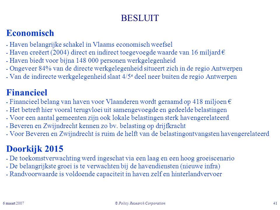 © Policy Research Corporation 416 maart 2007 Economisch - Haven belangrijke schakel in Vlaams economisch weefsel - Haven creëert (2004) direct en indi