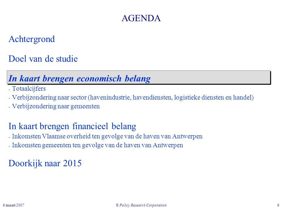 © Policy Research Corporation 66 maart 2007 AGENDA Achtergrond Doel van de studie In kaart brengen economisch belang - Totaalcijfers - Verbijzondering