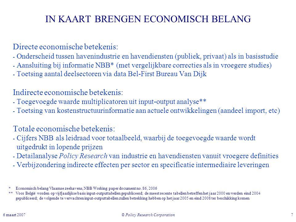 © Policy Research Corporation 76 maart 2007 IN KAART BRENGEN ECONOMISCH BELANG Directe economische betekenis: - Onderscheid tussen havenindustrie en h