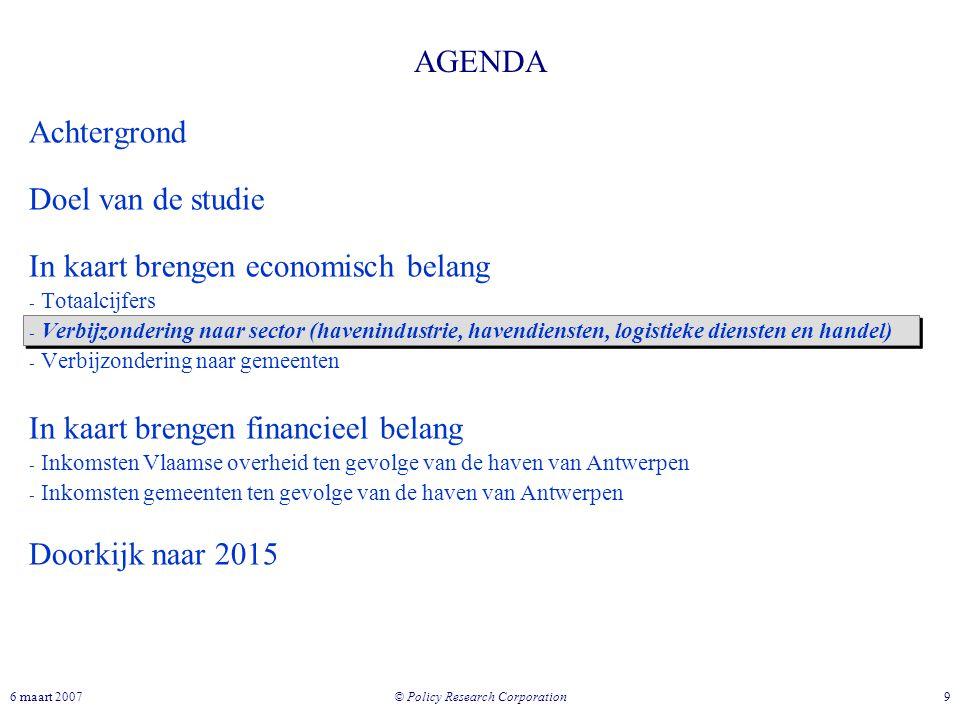 © Policy Research Corporation 96 maart 2007 AGENDA Achtergrond Doel van de studie In kaart brengen economisch belang - Totaalcijfers - Verbijzondering