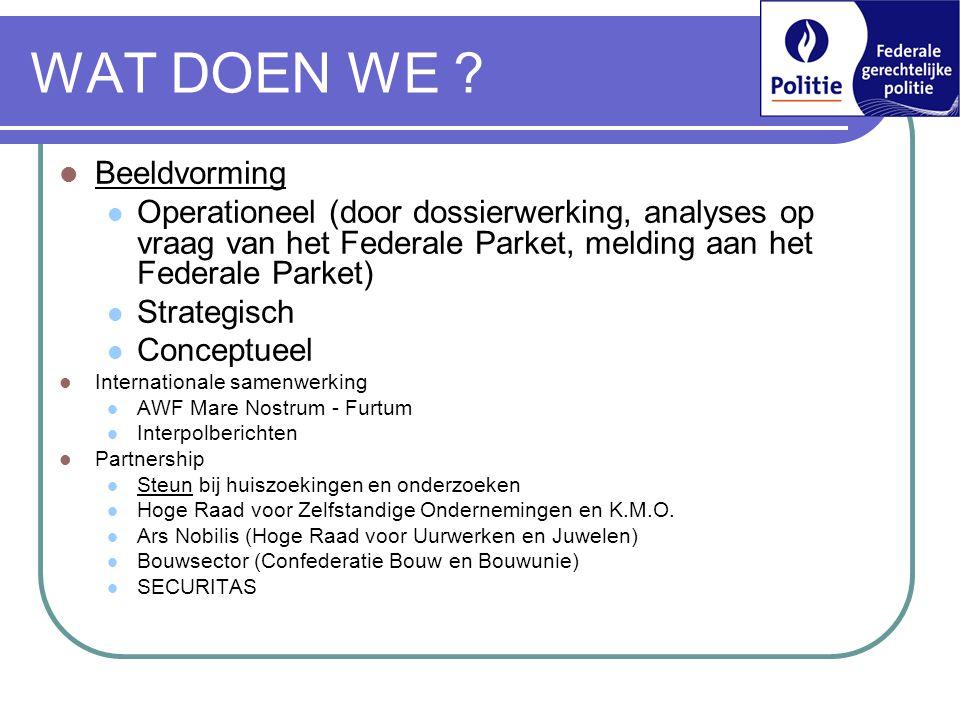 WAT DOEN WE ?  Beeldvorming  Operationeel (door dossierwerking, analyses op vraag van het Federale Parket, melding aan het Federale Parket)  Strate