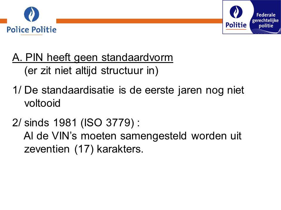A. PIN heeft geen standaardvorm (er zit niet altijd structuur in) 1/ De standaardisatie is de eerste jaren nog niet voltooid 2/ sinds 1981 (ISO 3779)