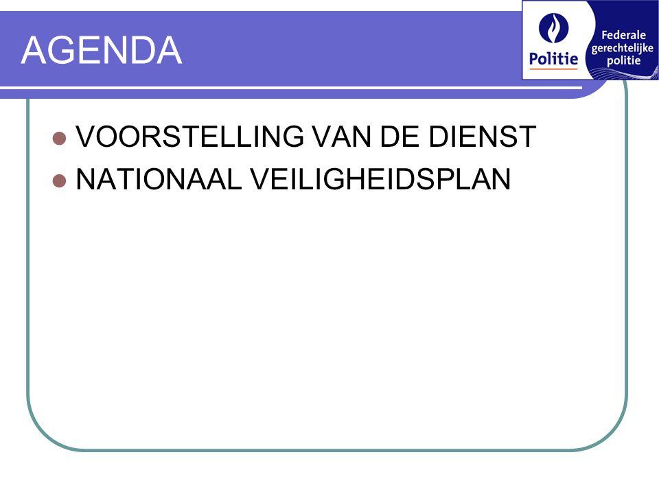AGENDA  VOORSTELLING VAN DE DIENST  NATIONAAL VEILIGHEIDSPLAN