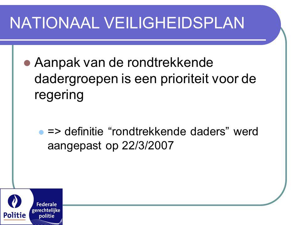NATIONAAL VEILIGHEIDSPLAN  Aanpak van de rondtrekkende dadergroepen is een prioriteit voor de regering  => definitie rondtrekkende daders werd aangepast op 22/3/2007