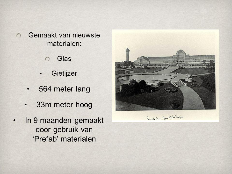 Gemaakt van nieuwste materialen: Glas • Gietijzer • 564 meter lang • 33m meter hoog • In 9 maanden gemaakt door gebruik van 'Prefab' materialen