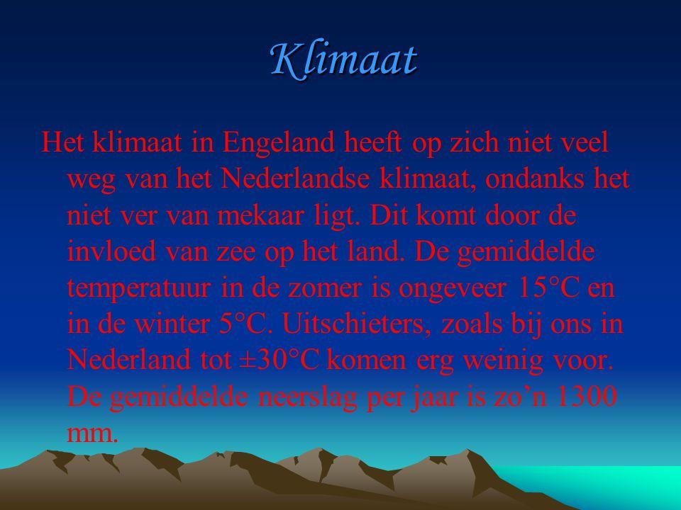 Klimaat Het klimaat in Engeland heeft op zich niet veel weg van het Nederlandse klimaat, ondanks het niet ver van mekaar ligt.