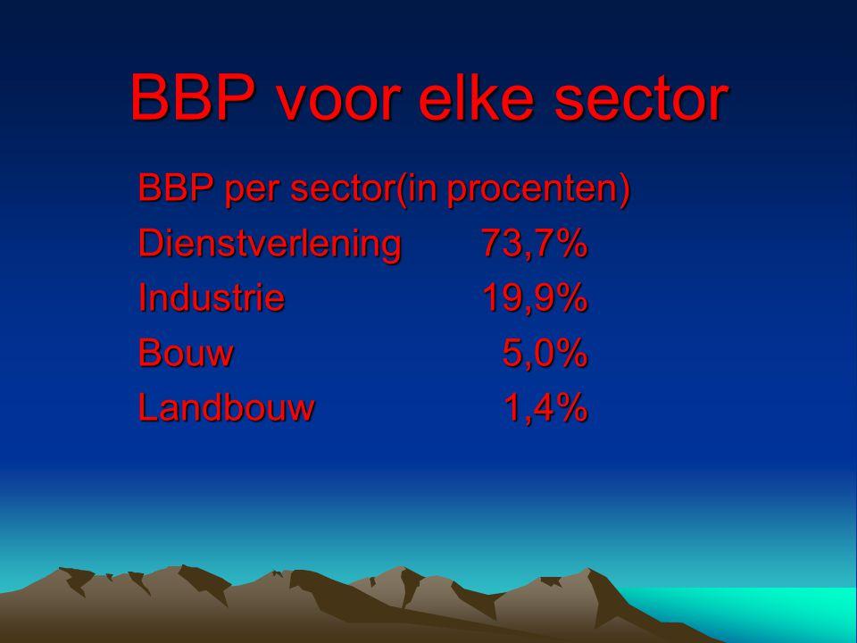 BBP voor elke sector BBP per sector(in procenten) Dienstverlening73,7% Industrie19,9% Bouw 5,0% Landbouw 1,4%