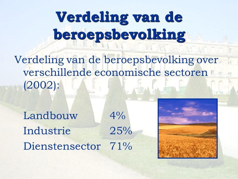 Verdeling van de beroepsbevolking Verdeling van de beroepsbevolking over verschillende economische sectoren (2002): Landbouw4% Industrie 25% Dienstens