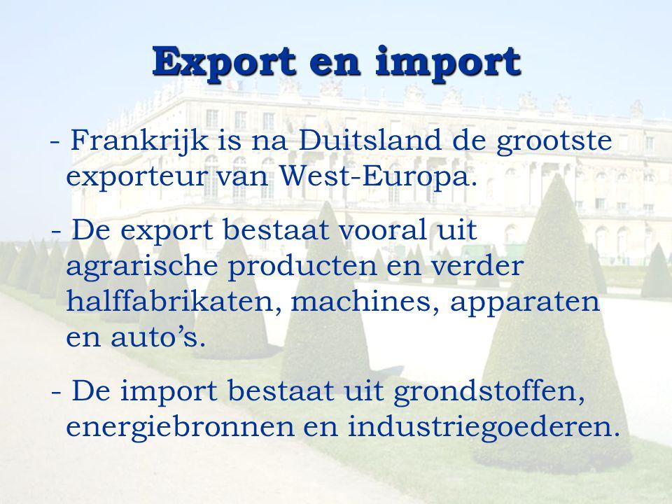 Export en import - Frankrijk is na Duitsland de grootste exporteur van West-Europa. - De export bestaat vooral uit agrarische producten en verder half