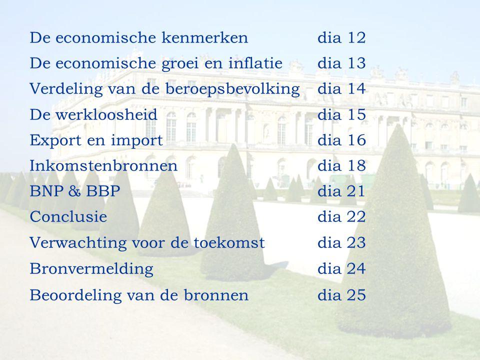De economische kenmerkendia 12 De economische groei en inflatiedia 13 Verdeling van de beroepsbevolkingdia 14 De werkloosheiddia 15 Export en importdi