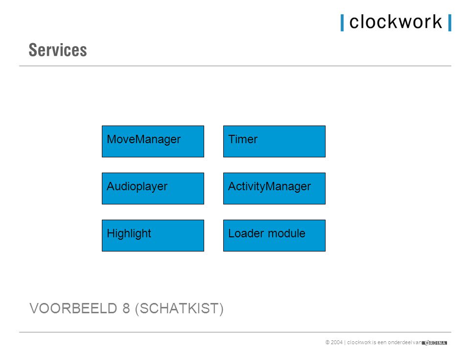 © 2004 | clockwork is een onderdeel van Services MoveManager Audioplayer Highlight Timer ActivityManager Loader module VOORBEELD 8 (SCHATKIST)