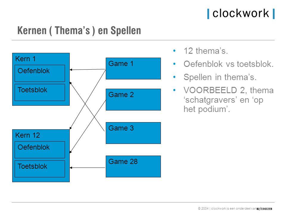 © 2004 | clockwork is een onderdeel van Kernen ( Thema's ) en Spellen Kern 1 Kern 12 Game 1 Game 2 Game 3 Game 28 Oefenblok Toetsblok Oefenblok Toetsblok •12 thema's.