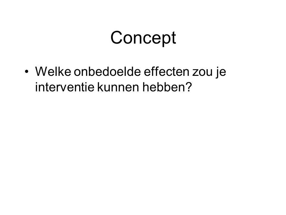 Concept •Welke onbedoelde effecten zou je interventie kunnen hebben?
