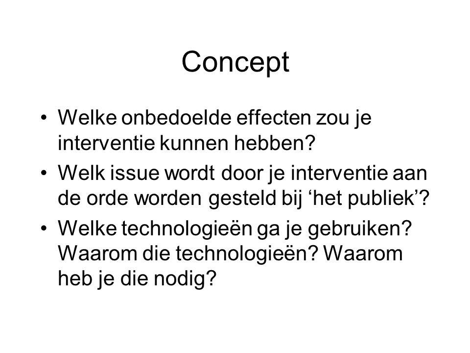 Concept •Welke onbedoelde effecten zou je interventie kunnen hebben.