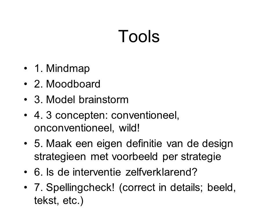 Tools •1. Mindmap •2. Moodboard •3. Model brainstorm •4.