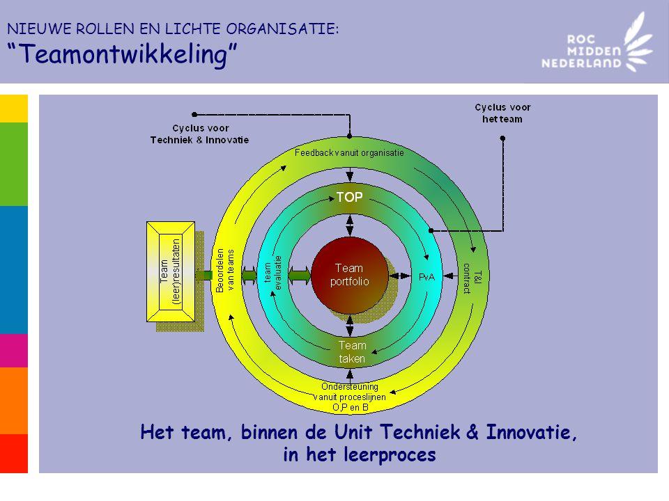 """Het team, binnen de Unit Techniek & Innovatie, in het leerproces NIEUWE ROLLEN EN LICHTE ORGANISATIE: """"Teamontwikkeling"""""""