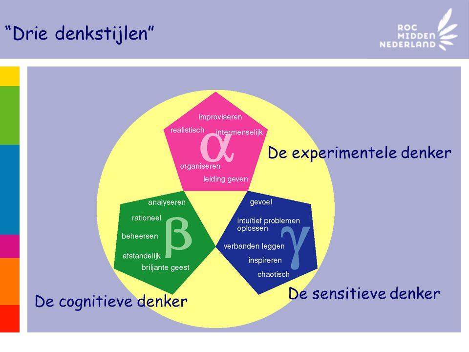 De experimentele denker De sensitieve denker De cognitieve denker Drie denkstijlen