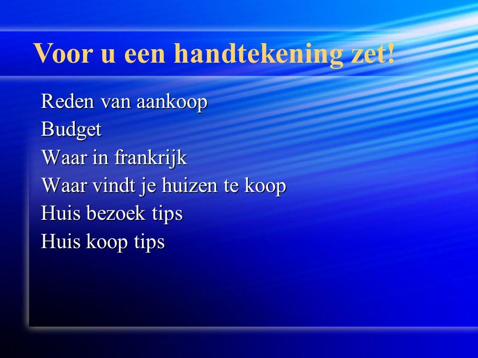 Huis koop tips Promesse de achat Alleen tekenen als je het begrijpt.