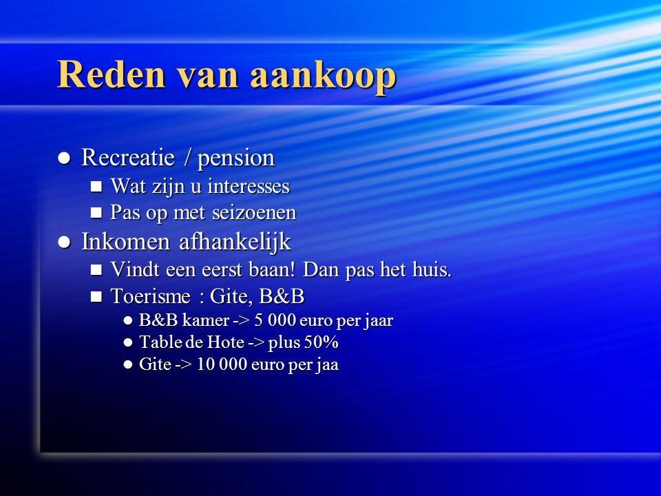 Reden van aankoop  Recreatie / pension  Wat zijn u interesses  Pas op met seizoenen  Inkomen afhankelijk  Vindt een eerst baan.