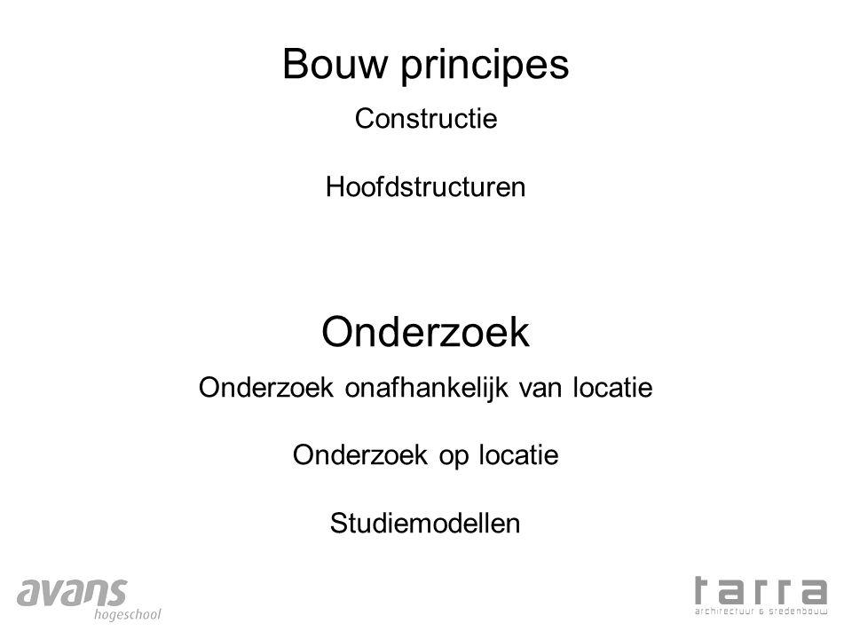 Bouw principes Constructie Hoofdstructuren Onderzoek Onderzoek onafhankelijk van locatie Onderzoek op locatie Studiemodellen